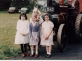 Girls and traction engine at school's 150th 1981