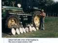 Albert Cuff with ploughing trophies Little Ann 1987