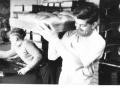 John Sayers, bakery roundsman, 1961 -- The boy is Michael Penny