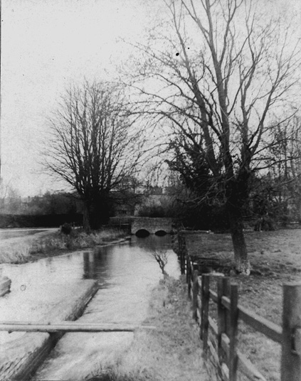 View of Mill Lane bridge Abbotts Ann from Lower Mill, c.1900