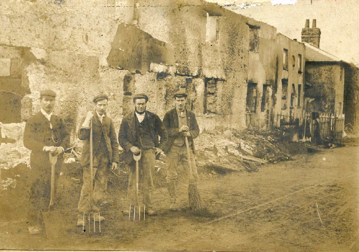 Clearing up after the Abbotts Ann School fire Nov 1899