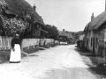 Abbotts Ann street looking north with nurse Mrs Rodbard